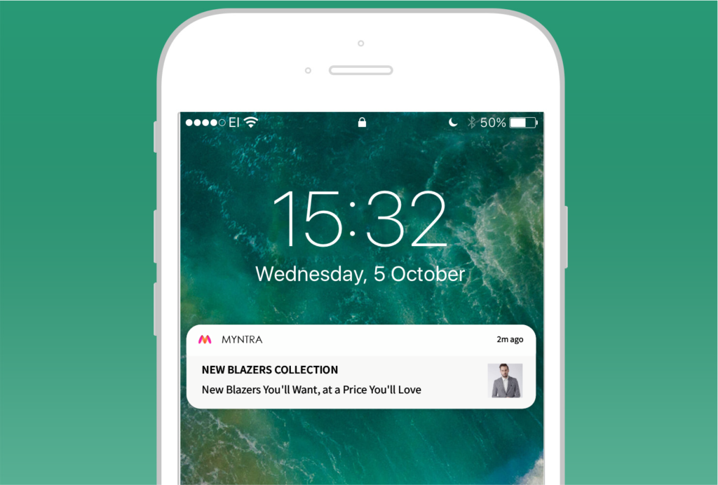 New product launch push notifications message example