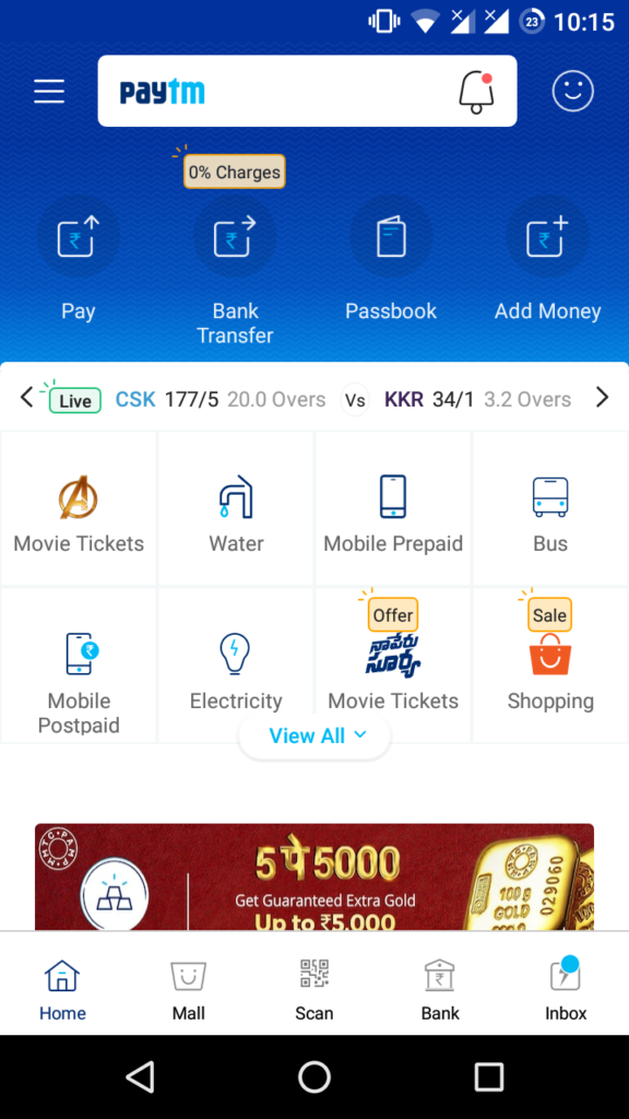 Multiple services offered by PayTM in single app