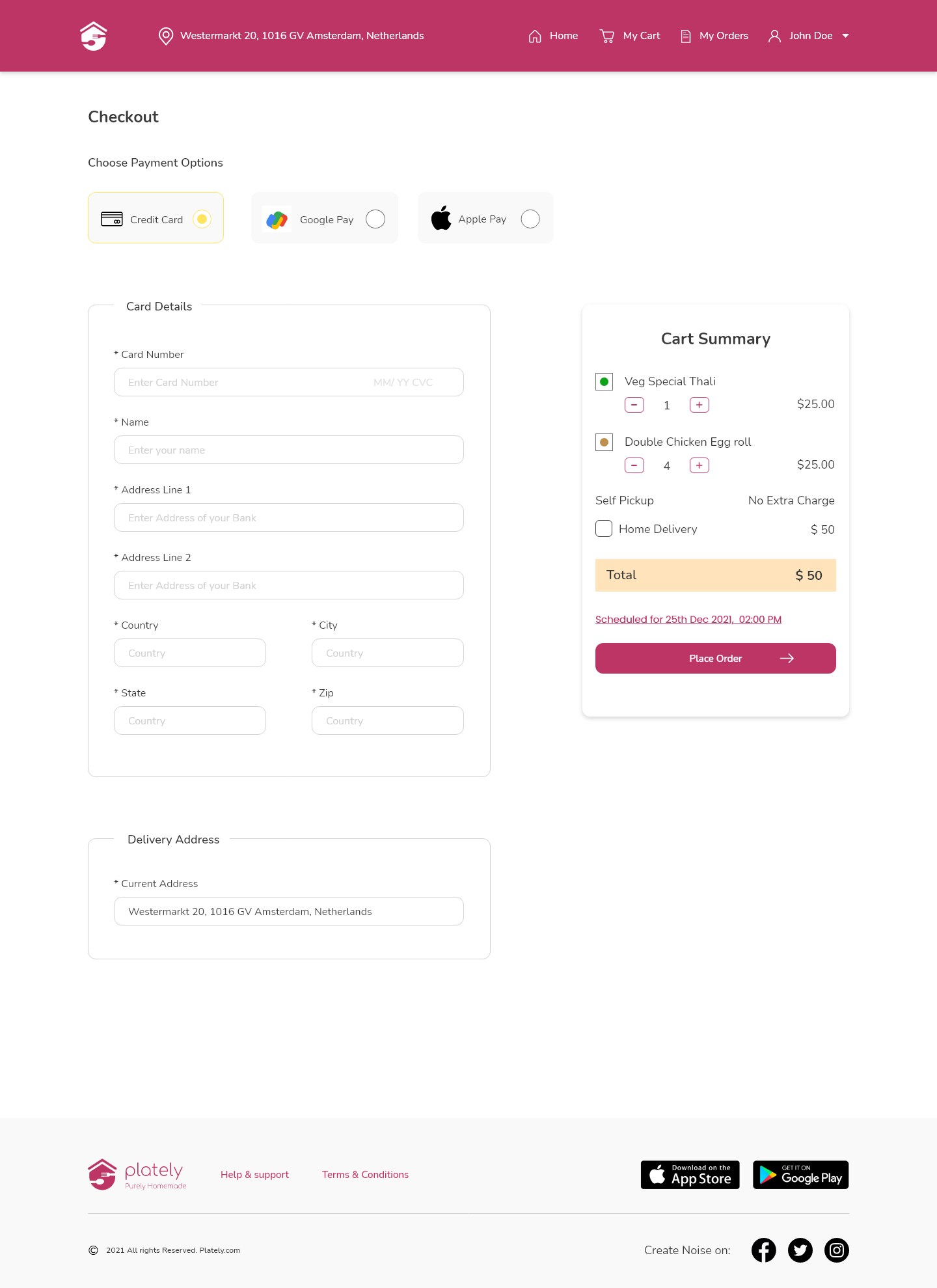 Payment Options On Food Ordering App