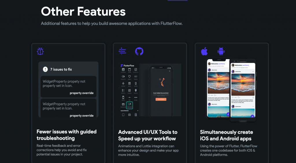 flutter flow is unique as compared to adobe xd and figma